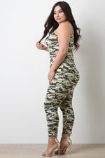 Soft Knit Camouflage Sleeveless Fitted Jumpsuit, Plus Sizes, Bottoms + - Fizici.com | Women's Fashion & Clothing, Footwear & Accessories 2018