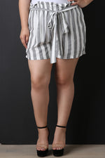 Striped Paperbag Shorts, Plus Sizes, Bottoms + - Fizici.com | Women's Fashion & Clothing, Footwear & Accessories 2018