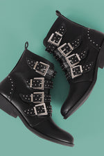 Qupid Studded Buckled Strap Moto Ankle Boots