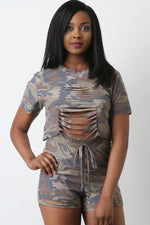 French Terry Camouflage Slashed Top With Shorts Set, Clothes, Shorts & Bermudas - Fizici.com | Women's Fashion & Clothing, Footwear & Accessories 2018