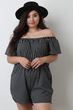 Striped Off The Shoulder Romper, Plus Sizes, Rompers & Jumpsuits + - Fizici.com | Women's Fashion & Clothing, Footwear & Accessories 2018