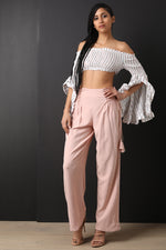 High Rise Smocked Lace Up Flared Pants, Clothes, Pants & Jeans - Fizici.com | Women's Fashion & Clothing, Footwear & Accessories 2018