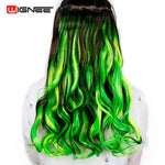 Wignee Long Body Wave Glueless Cosplay Hair 5 Clips In Hair Extensions High Temperature Synthetic Fiber Wavy half Wig For Women