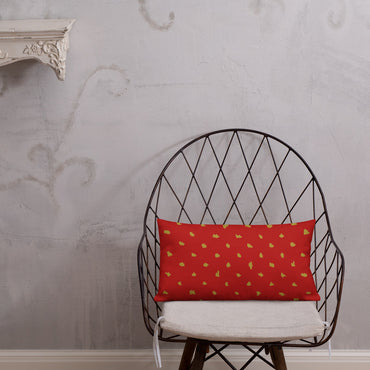 Faith Red and ochre dot Premium Pillow