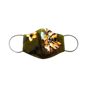Pack 2 Mascarillas (Verde Militar Floreado + Color Negro)