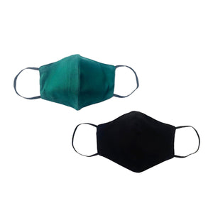Pack 2 Mascarillas (Verde Militar + Color Negro)