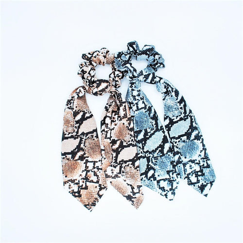 Scrunchie Snake Print With Scarf Detail - 2 Pack