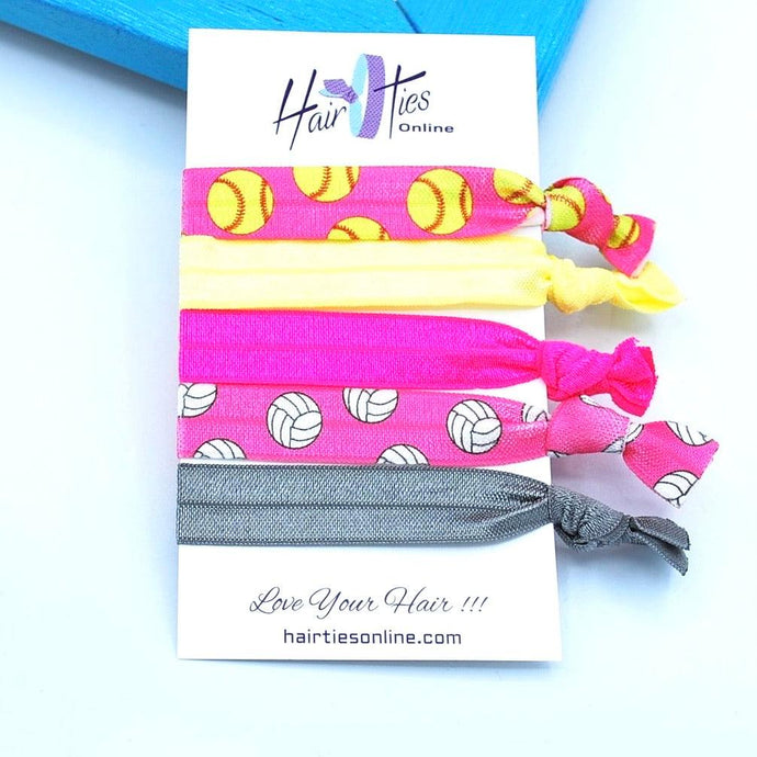 Sports Yoga Bow Knotted Hair Ties- 5 Pack
