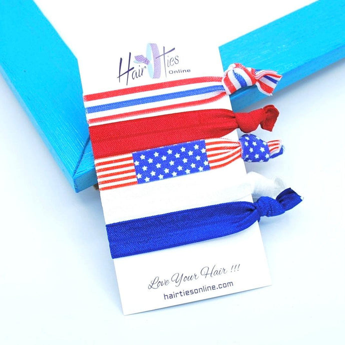 USA Knotted Bow Knotted Hair Ties- 5 Pack