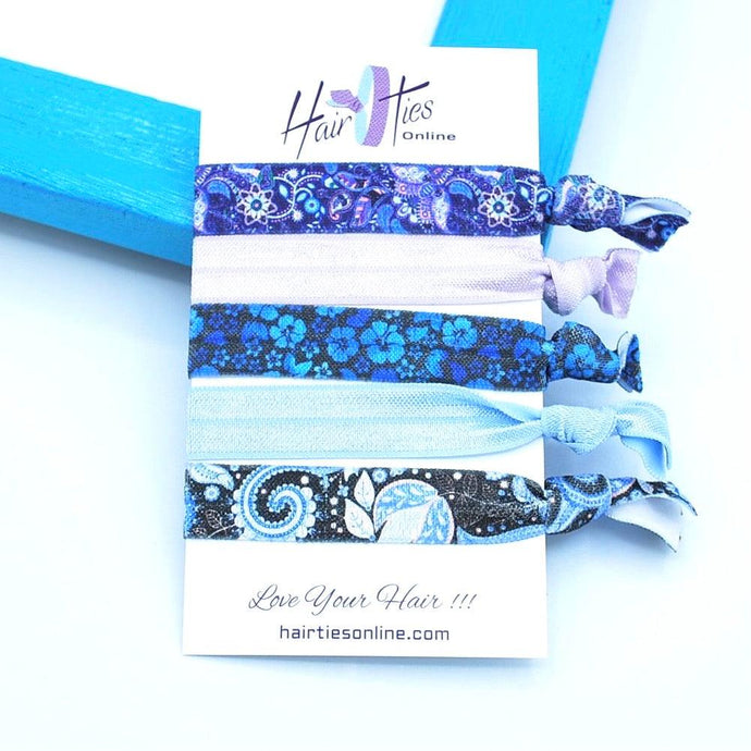 Blue Hibiscus Bow Knotted Hair Ties- 5 Pack