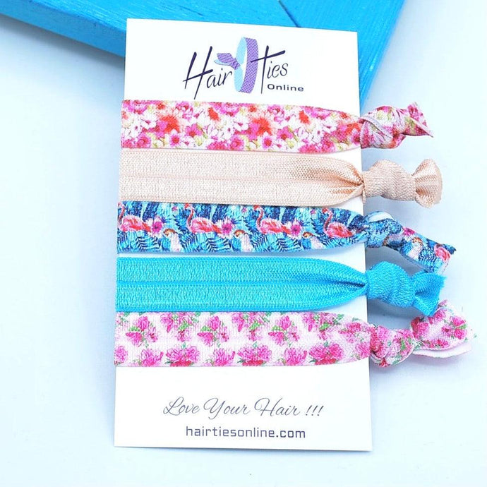 Flowers&Flamingo's Bow Knotted Hair Ties- 5 Pack