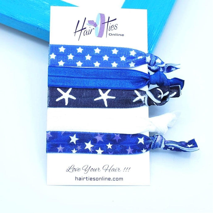 Blue Bow Knotted Hair Ties- 5 Pack