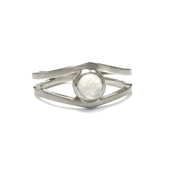 Izaskun Zabala fine jewelry custom 14K white gold engagement ring with moonstone cabochon