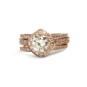 Izaskun Zabala fine jewelry custom 18K rose gold wedding and engagement ring with diamonds