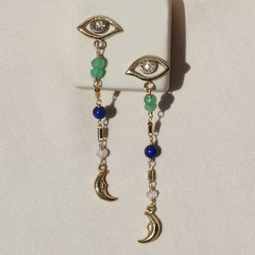 Izaskun Zabala jewelry eye stud and moon dangle earrings with chrysoprase, lapis lazuli and moonstone beads