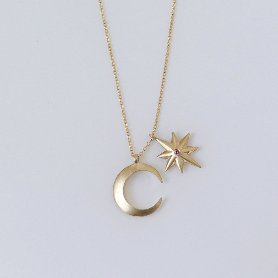 Izaskun Zabala jewelry moon and star with sapphire delicate necklace