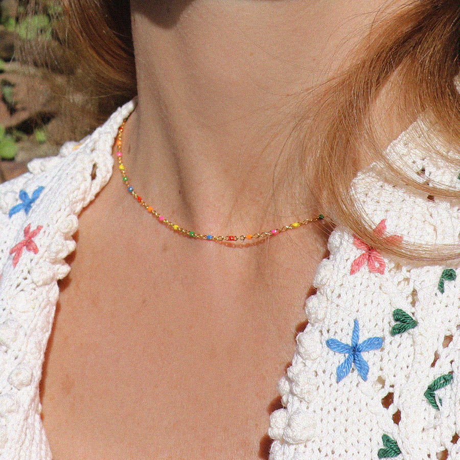 Izaskun Zabala jewelry enamelled beads and gold filled chain delicate necklace