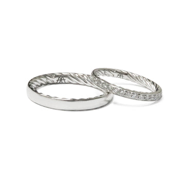 Izaskun Zabala fine jewelry custom platinum wedding band rings with diamonds for her