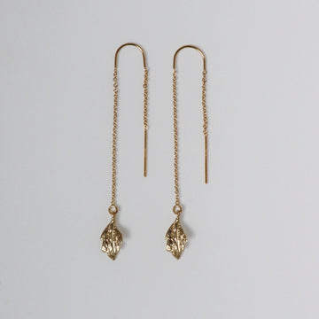 Izaskun Zabala Jewelry rose leaf dangle earrings with chain