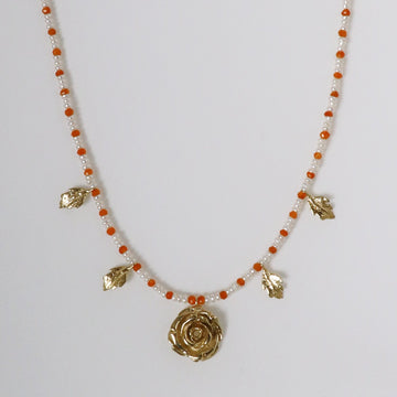 Izaskun Zabala Jewelry rose delicate necklace with seed pearls and carnelian beads
