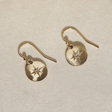 Izaskun Zabala Jewelry coil dangle earrings with white sapphire star settting