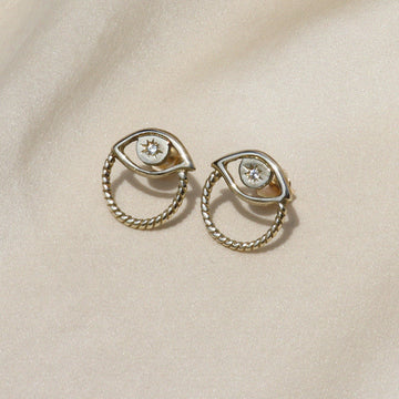 Izaskun Zabala jewelry eye stud with white sapphire earrings