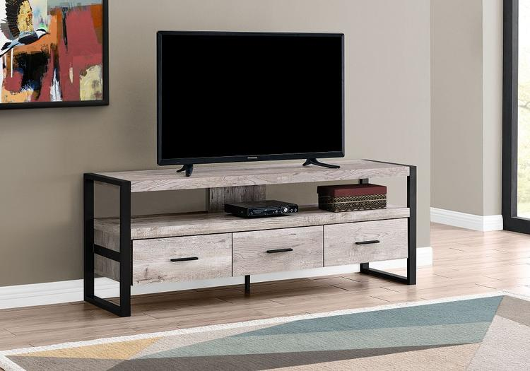 "Monarch Specialties I2822 | Meuble TV - 60"" - 3 Tiroirs - Taupe"