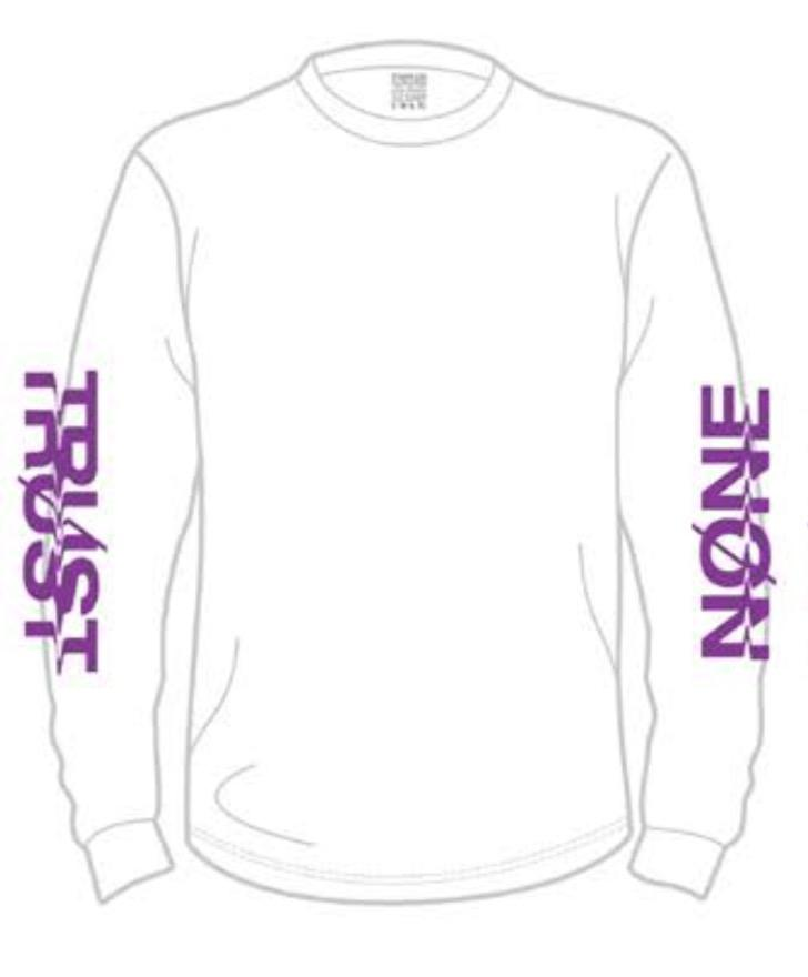 TRUST NONE L/S T-SHIRT - WHITE PURPLE