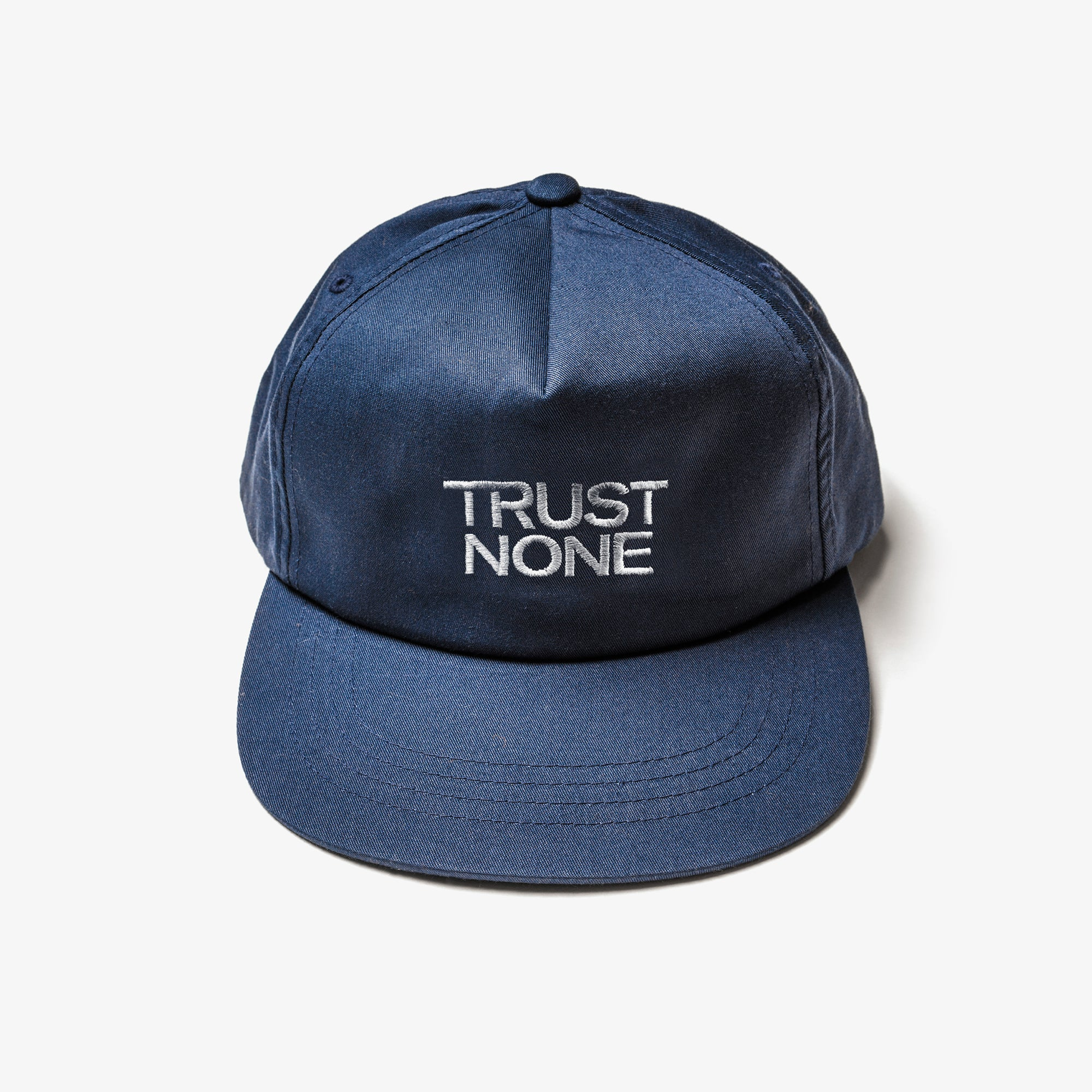 TRUST NONE 5-PANEL HAT - NAVY