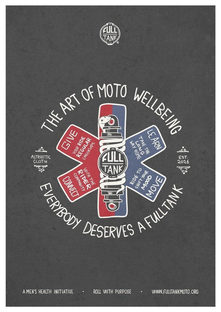 art of moto wellbeing poster motorcycle charity full tank moto