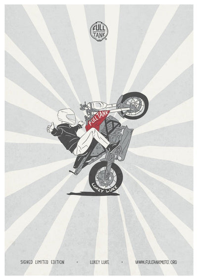 lukey luke poster motorcycle charity full tank moto movember