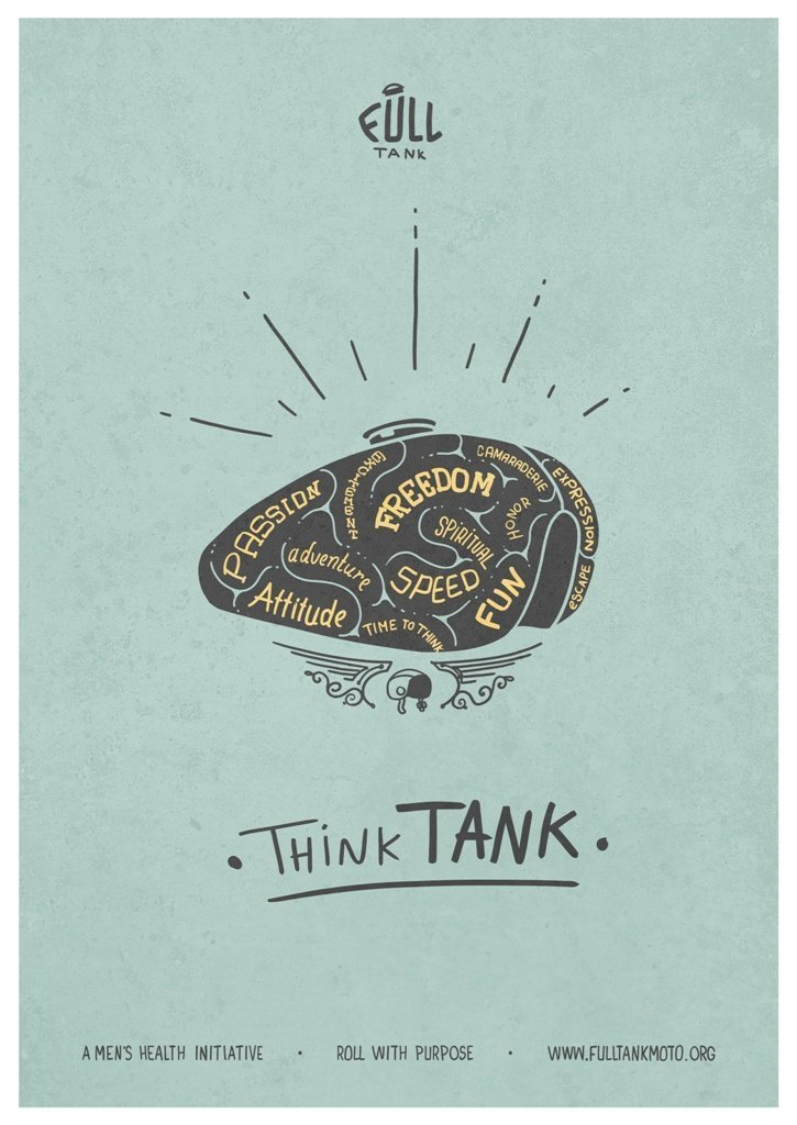 think tank poster motorcycle charity full tank moto movember