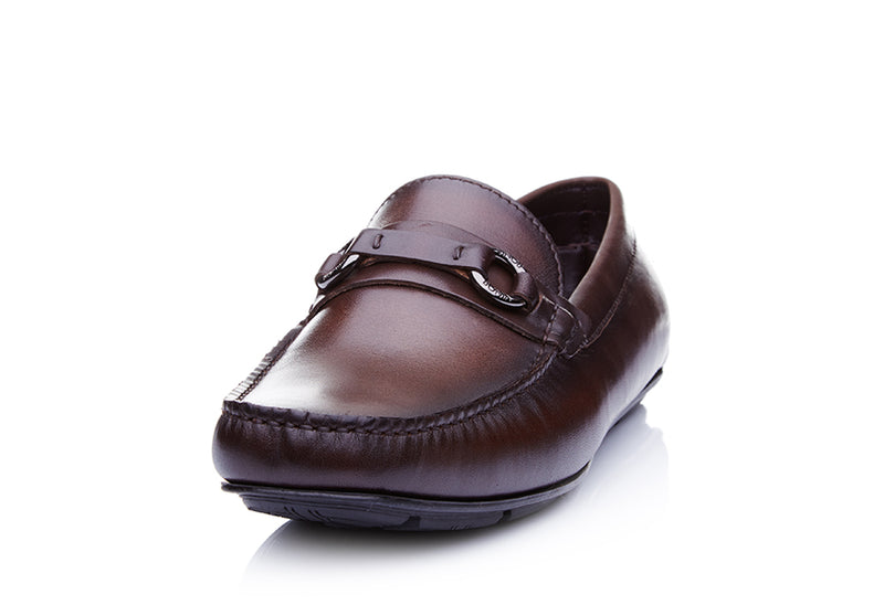 Crust Leather Horsebit Slip-On Loafers
