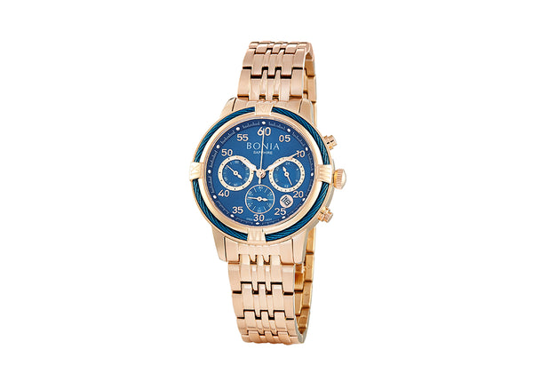 Rose Gold And Blue Jodi Chronograph Ladies' Watch