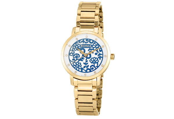 Rose Gold And Blue Ivy Floral Watch