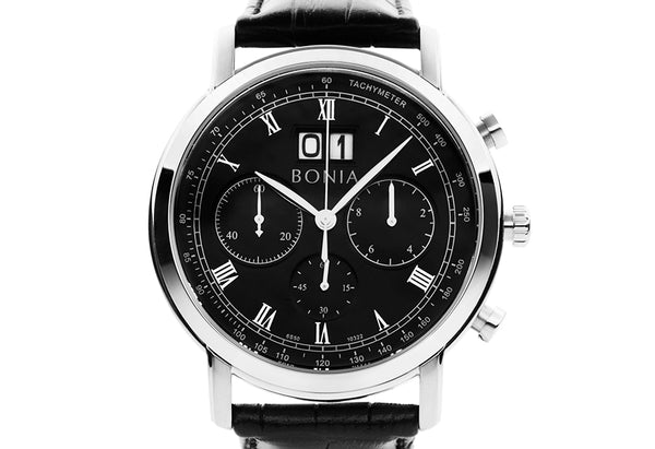 Silver & Black Chevalier Watch