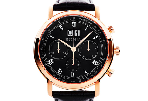 Rosegold and Black Chevalier Watch