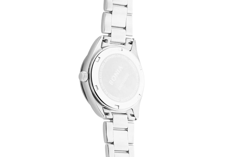 Silver Stainless Steel Crystal Watch