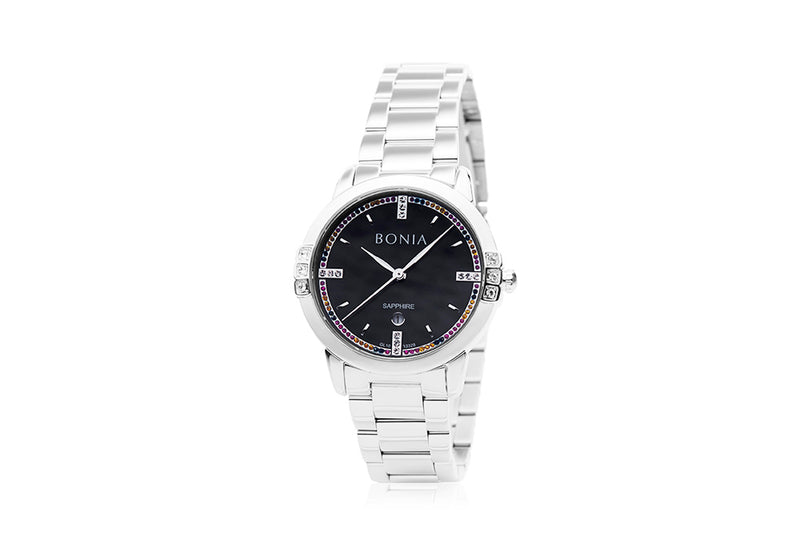 Silver & Black Leticia Watch