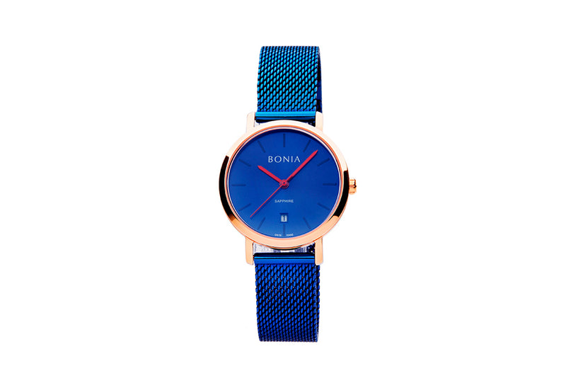 Rose Gold & Blue Sunray Kosmo Ladies' Watch