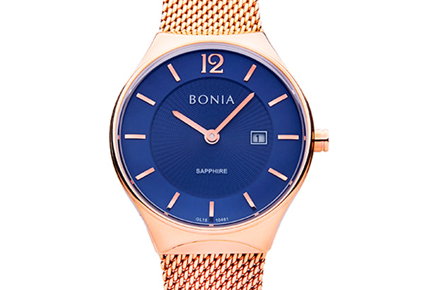 Rose Gold with Blue Sunray Ladies' Watch