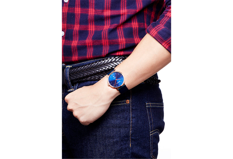 Rose Gold & Blue Sunray Kosmo Men's Watch