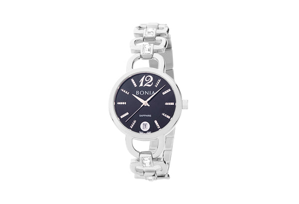 Silver and Black Stefania Watch