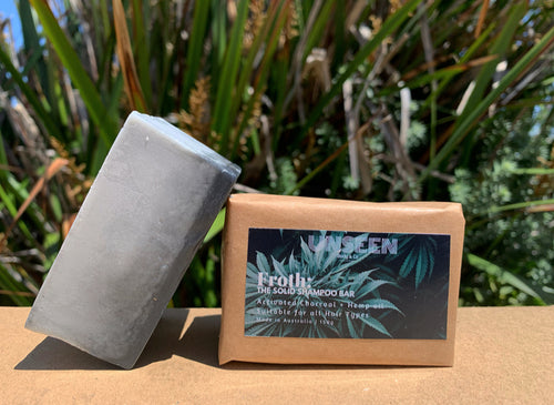 Froth: The Solid Shampoo Bar | Activated Charcoal + Hemp Oil 150g - UNSEEN Body and Co