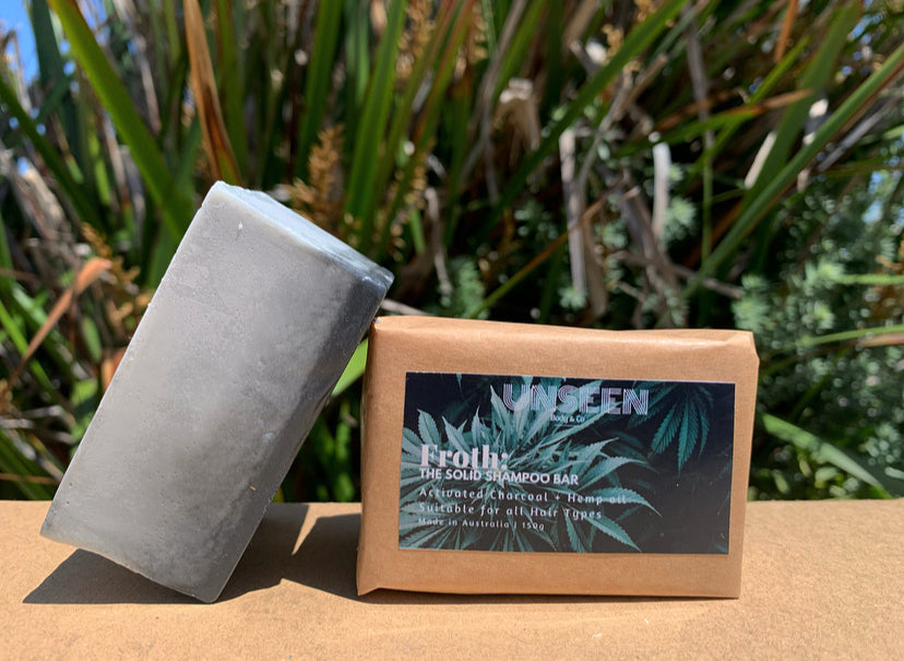 Froth: The Solid Shampoo Bar | Activated Charcoal + Hemp Oil 150g