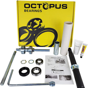 OCTOPUS Premium Quality Cabrio Bearing Seal Kit Assembly with Shaft and Tool Set with Premium Box. Replacement for W10435302 and W10447783 Aftermarket Part Compatible with Whirlpool - by OCTOPUS