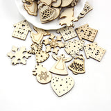 50PCS Natural Wooden Chip Christmas Tree Decorations