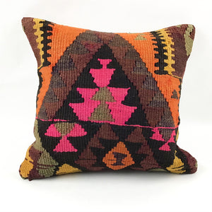 "18"" x 18"" Vintage Kilim Throw Pillow with Insert - #3"
