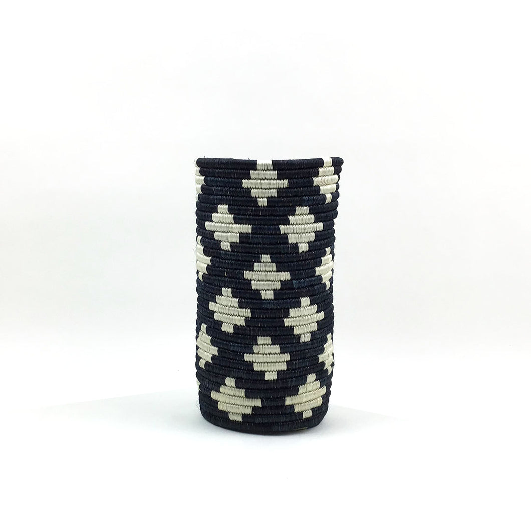 Hand-Woven Vase with Insert - Black and White