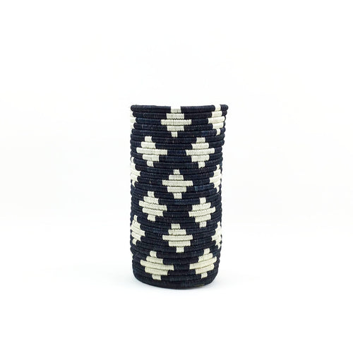 BIST: Hand-Woven Vase with Insert - Black and White
